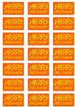 Happy Halloween Orange Stickers - 21 per sheet